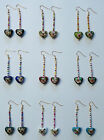 1x PAIR OF HAND MADE GOLD PLATED AND BEAD DANGLE EARRINGS POST FREE