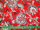 HENRY GLASS - BLACK, WHITE & CURRANT - LARGE JACOBEAN FLORAL RED COTTON FABRIC