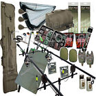 Carp Fishing Set up With Rods Reels Alarms Tackle Carryall & Rod holdall
