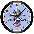 BARBER SHOP WALL CLOCK HAIR BARBERSHOP PERSONALIZED CUT SCISSORS STYLE POLE