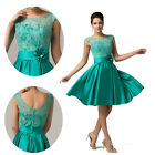 Sleeveless Flower Lace Homecoming Prom Party Cocktail Satin Dresses Open Back aY