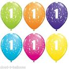 Qualatex 11'' Aged 1 Birthday Latex Balloons Tropical Colours Helium or Air Fill