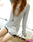 Fashion Womens Slim Long Sleeve Striped T-Shirt Tops Causal Crochet Lace Blouse