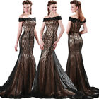 VTG Celeb Long Lace Mermaid Gown Evening Cocktail Party Prom Ball Wedding Dress