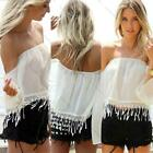 Women's Sexy Off Shoulder Lace Shirt Strapless Long Sleeve Chiffon Blouse Tops