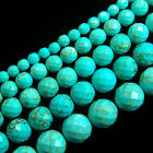 "Stabilized Turquoise Gemstone Faceted Round Beads 16"" 4,6,8,10,12,14mm"