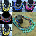 Women Luxury Drop Resin Chain Pendant Hand-Woven Rope Collarbone Necklace 6Color