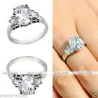 1pc Women Stainless Steel Cut CZ Promise Engagement Wedding Finger Ring With Box