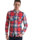 New Mens Superdry Lumberjack Twill Shirt Dawkings Red Orange AA