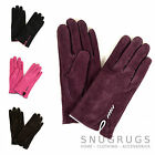 Ladies Suede Gloves with Fleece Lining and Stitch Detail