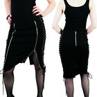 Hell Bunny Pixie Pencil Skirt Black Zippers Punk Rock Mini