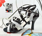 "wide 3.3"" heel WHITE BLACK WOMEN'S LATIN SALSA DANCE SHOES"