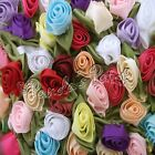 Large Satin Ribbon Roses with Satin Leaves Choose Your Colour/Pack Size Free P&P