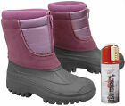 New Womens Purple Zip Up Warm Fleece Lined Winter Snow Boots + Waterproof Spray