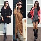 Casual Women Loose Zipper Detail Slouchy Pullover Long T-Shirt Tunic Dress Top