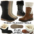 WOMENS LADIES KNEE OVER THE CALF HIGH BLACK WINTER SNOW LEATHER STYLE BOOTS SIZE