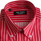 Mens Red & White Stripe Casual Shirt Long Sleeve Quality Cotton - Mr Free