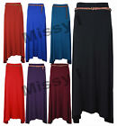 New Womens Ladies Long Gypsy Belted Skirt Flare Hem Jersey Maxi  With Belt 8-14