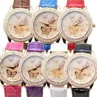 PU Leather Band Womens Dress Watch Crystal Rhinestone Big Dial Quartz Wristwatch
