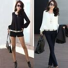 Women Chiffon Puff Long Sleeve Rivets Studded Pullover Flowing Blouse Shirt Top