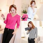 Women Shoulder Epaulette V-neck 3/4 Sleeves Brief Slim Buttons Shirt Blouse Top