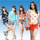 Women Chiffon Polka Dot Ruffled Butterfly Sleeve Crew Neck Loose Blouse T-Shirt