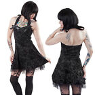 Black Tattoo Short Flocked Halter Dress Rockabilly Hearts & Roses Pinup