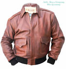 Brown A-2 HORSEHIDE Pilots FLYING genuine leather bomber flight JACKET WWll A2