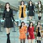 Women Double Breasted Long Sleeve Lace Splicing Overcoat Trench Coat with Belt