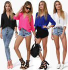High-Low Design Sexy New Women's V-Neck Long Sleeve Chiffon Casual Tops Blouses