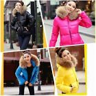 Winter Women Faux Fur Collar Zip Candy Color Thick Hooded Parka Coat Outerwear