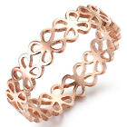 Fashion Rose Gold Stainless Steel Luckly Four Leaf Clover Finger Ring For Wife