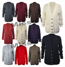 Womens Longsleeve Chunky Aran Cable Knit Button Jumper Cardigan Plus Size 8-20