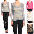 Themogan Floral Lace V-neck Stretch Blouse Top Sheer Long Sleeve Tee Shirts