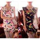 Women Sexy Clubwear Chiffon Sleeveless Feather Print Mini Tank Tunic Shift Dress