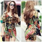 Women Autumn Winter Printed Long Sleeve Deep V-neck Tunic Top Sheath Mini Dress