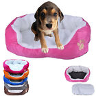 Soft Fabric Machine Washable Puppy Pets Dog Cat Warm Basket Bed w/ Fleece Lining