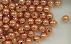 Copper Beads, 6mm Round Design, New