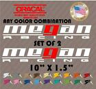 2 x MEGAN RACING DECALS STICKERS VINYL car bumper drift Honda Toyota hatch 10""
