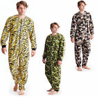 Mens Polar Fleece Onesie Tiger Camo All In One Pjs Pyjamas Sleepsuit Soft Cosy