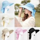 Women Summer Beach Foldable Self-tie Bow Floppy Wide Brim Sun Hat Headwear