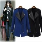 Fashion Women Windbreaker Big Lapel Long Sleeve PU Leather Coat Jacket Parka -LJ