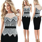 Sexy Womens Mesh Lace Bodycon Evening Cocktail Pencil Short Skirt Midi Dress new