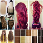 UK 17-30 inch extension Clip In Hair Extensions 5clips straight curly hair wm