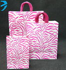 LUXURY PAPER CARRIER BAGS GLOSSY with TWISTED HANDLE (pack of 25) Pink Zebra
