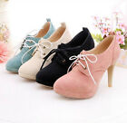 Womens fashion Mary Janes 4 Colors lace-up vogue high heel Pumps shoes US4.5-8