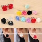 Pair Womens Korean Style Resin Rose Flower Ear Stud Earrings Candy Color