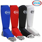 Shin Instep Foot Leg Protector Kick Boxing Contact MMA Pads Black Red White Blue