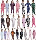 KIDS ONESIE GIRLS BOYS TODDLER ALL IN ONE JUMPSUIT SOFT FLEECE PYJAMAS AGES 4-13