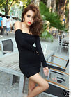 Sexy Ladies Off-shoulder Party Mini Dress Long Sleeve Black Bodycon Clubwear Top
